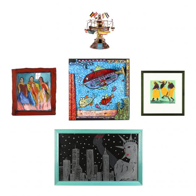 a-group-of-four-folk-art-paintings-and-a-whirligig