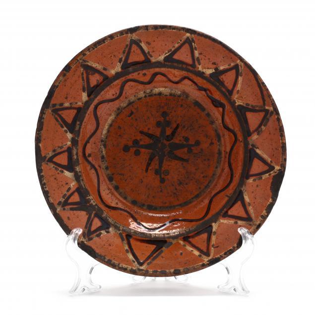antique-north-carolina-slip-decorated-redware-dish