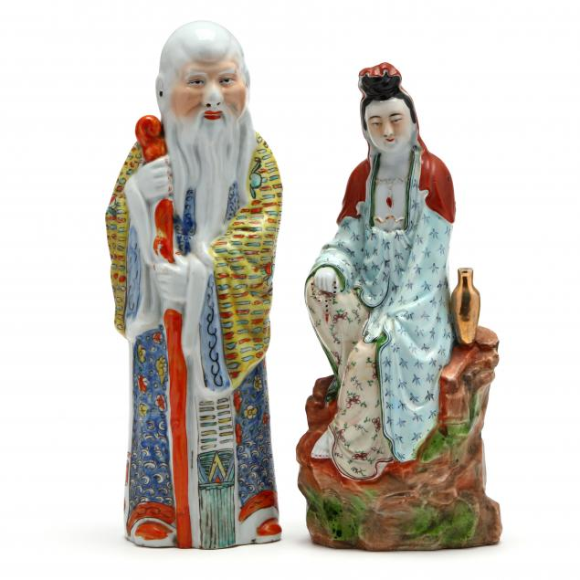 two-famille-rose-porcelain-sculptures-of-guanyin-and-shoulao