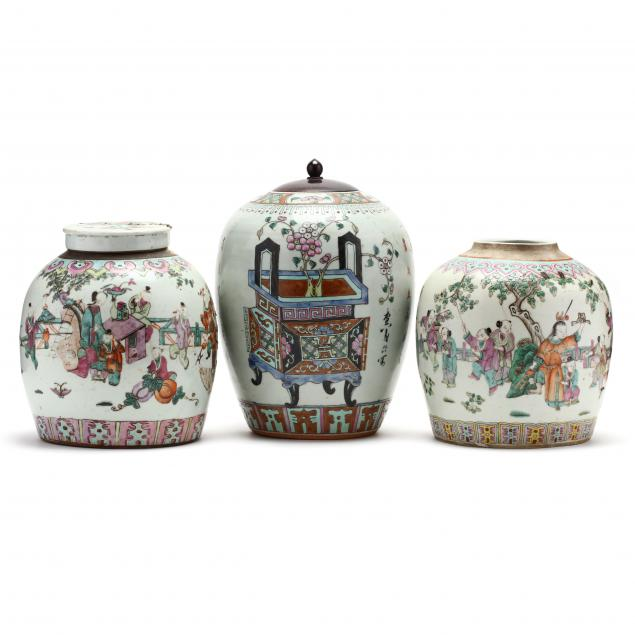 three-chinese-export-famille-rose-ginger-jars