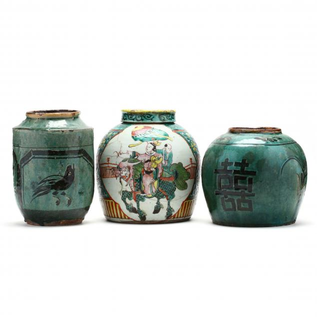 two-chinese-blue-green-jars-and-a-covered-ginger-jar-in-famille-verte