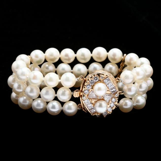 14kt-gold-triple-strand-pearl-and-diamond-bracelet