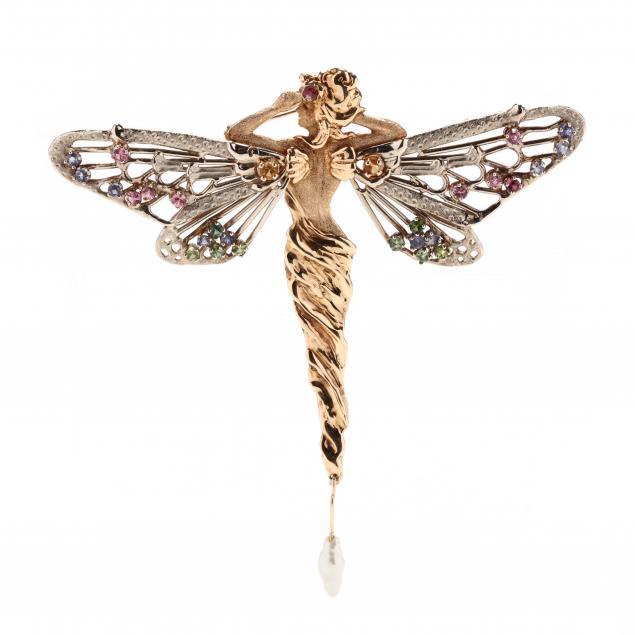 art-nouveau-style-14kt-gold-and-gem-set-fairy-brooch-signed