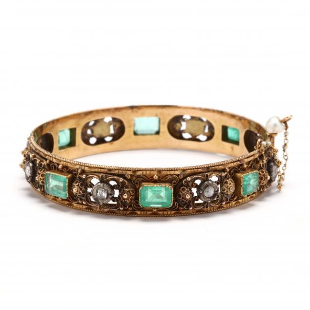 antique-gold-and-gem-set-bracelet