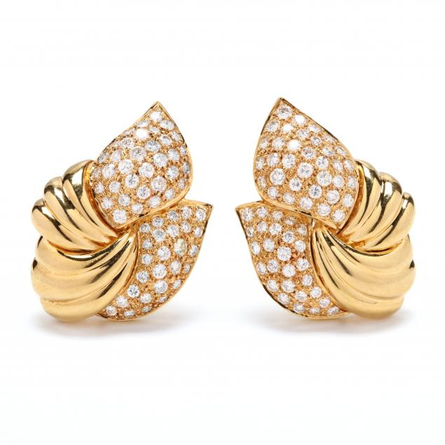 18kt-gold-and-diamond-earrings-signed