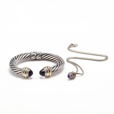 sterling-14kt-and-amethyst-bracelet-by-david-yurman-and-a-pendant-necklace