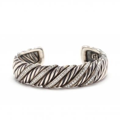 sterling-silver-and-diamond-cuff-bracelet-david-yurman