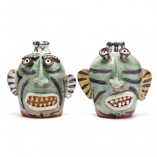 texas-folk-art-pottery-carl-block-pair-of-face-jugs