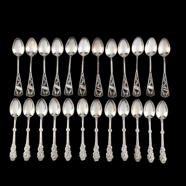 two-sets-of-sterling-silver-spoons