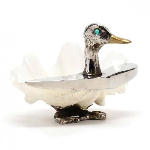 a-vintage-christofle-silverplate-shell-duck