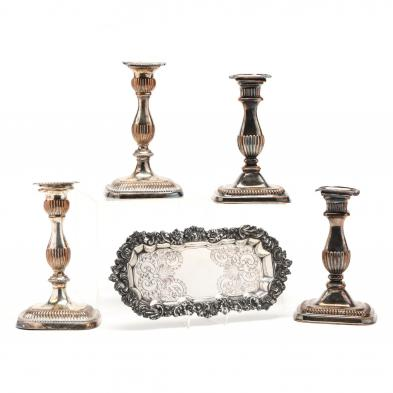 four-vintage-english-candlesticks-snuffer-tray
