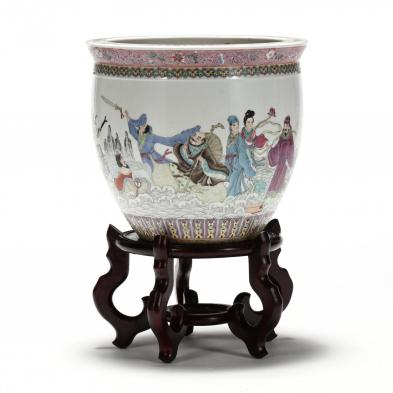 a-large-chinese-export-porcelain-jardiniere-with-daoist-immortals-on-stand