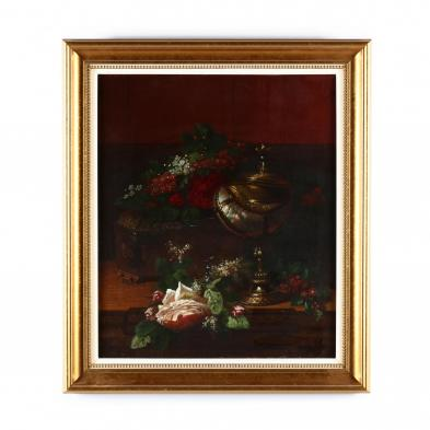 lemuel-maynard-wiles-american-1826-1905-still-life-with-flowers-and-nautilus-cup