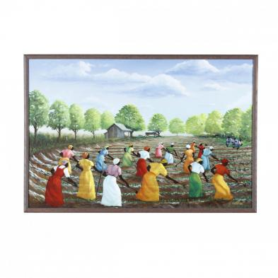 folk-art-painting-willie-nash-nc-1937-1999-hoeing-the-field