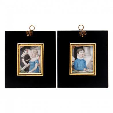 pair-of-portrait-miniatures-of-children-british