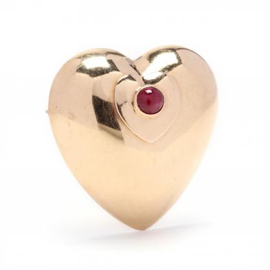 14kt-gold-and-ruby-heart-brooch