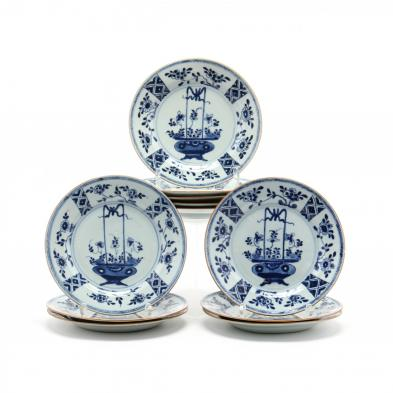 eleven-antique-chinese-porcelain-blue-and-white-plates