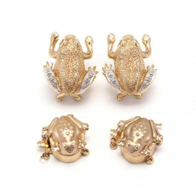 a-pair-of-gold-frog-earrings-and-two-gold-frog-clasps