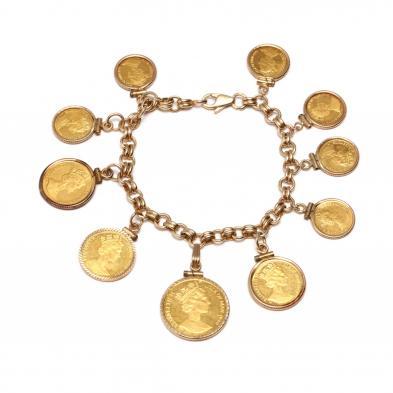 14kt-charm-bracelet-with-elizabeth-ii-isle-of-man-cat-theme-gold-coins