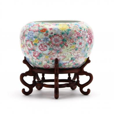 a-chinese-porcelain-millefleurs-bowl-with-hardwood-stand