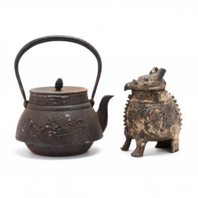 a-chinese-cast-iron-teapot-and-archaic-style-animal-censer