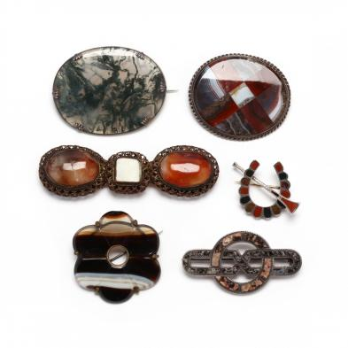six-vintage-agate-jewelry-items
