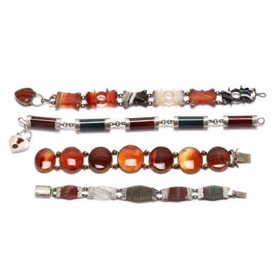 four-agate-link-bracelets
