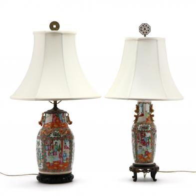 two-chinese-famille-rose-lamps