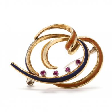 gold-and-synthetic-ruby-enamel-brooch