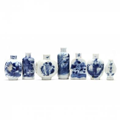 a-group-of-seven-chinese-blue-and-white-porcelain-bottles