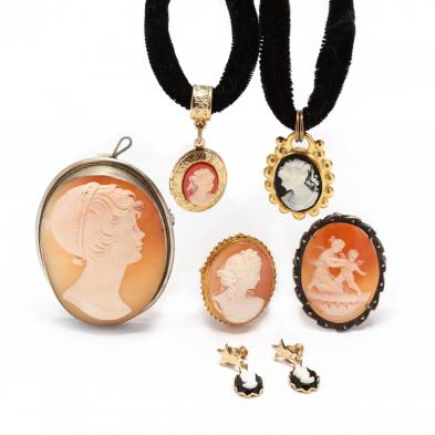 group-of-cameo-jewelry-items