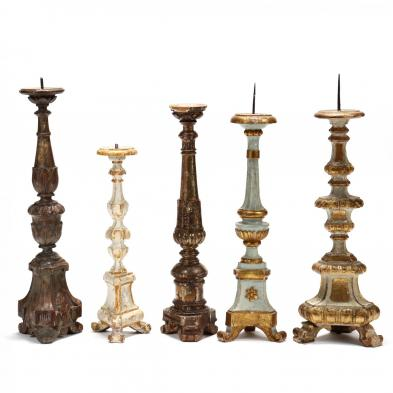 five-antique-carved-and-painted-pricket-sticks