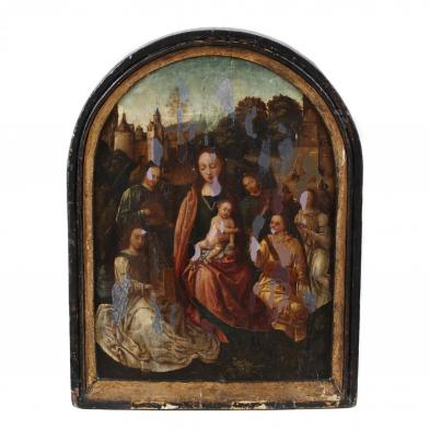 follower-of-hans-memling-circa-1430-1494-virgin-child-enthroned-with-musical-angels