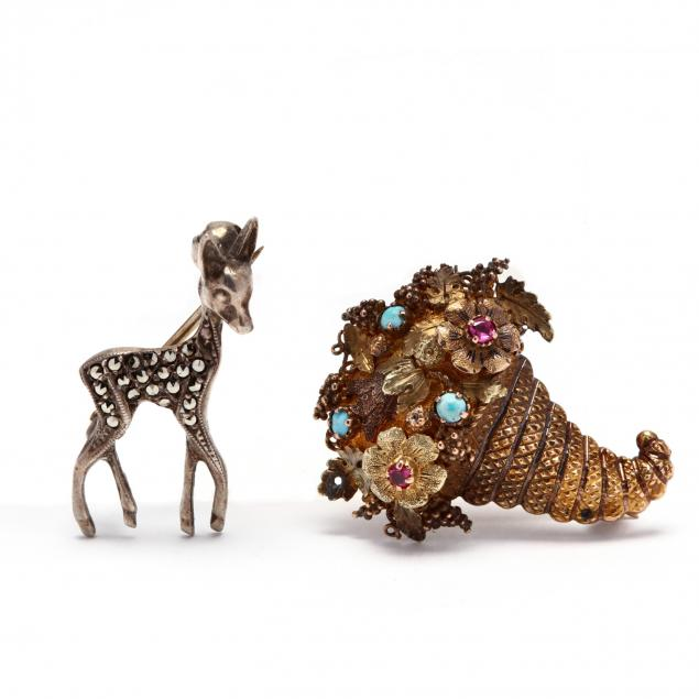 two-antique-brooches