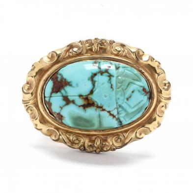 antique-gold-filled-and-turquoise-scarab-brooch