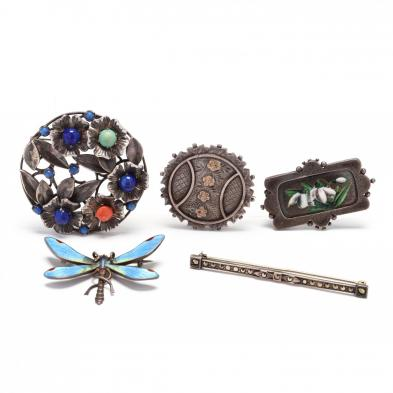 five-vintage-silver-brooches