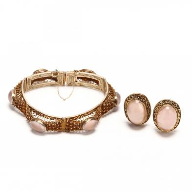 gold-wash-over-silver-rose-quartz-bracelet-and-earrings