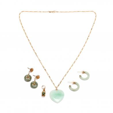 group-of-gold-and-jade-jewelry-items