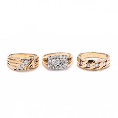 three-gold-and-diamond-rings