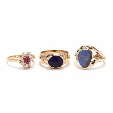 three-gold-and-gemstone-rings