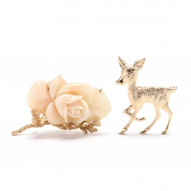 a-14kt-coral-brooch-and-a-gold-figural-brooch