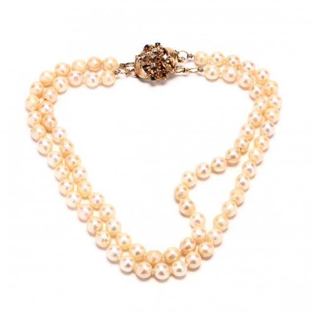 two-strand-pearl-pearl-necklace-with-14kt-gold-sapphire-and-diamond-clasp