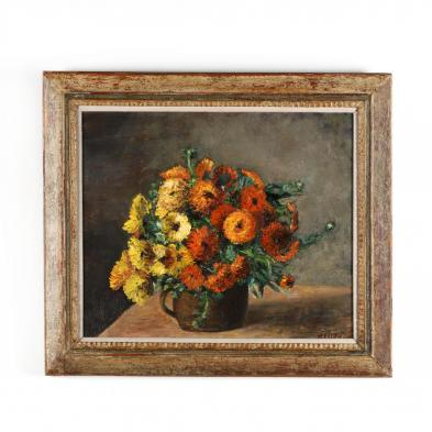 a-vintage-french-school-still-life-of-zinnias-i-fleurs-soucis-i