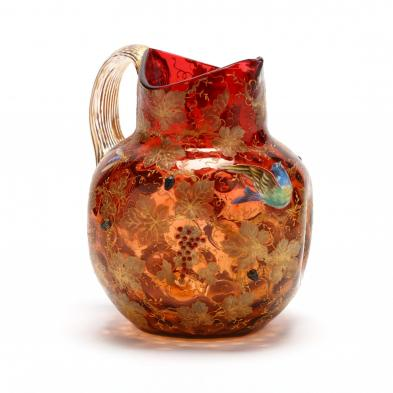 moser-glass-pitcher-with-relief-decoration