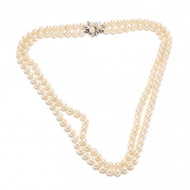 double-strand-pearl-necklace-with-14kt-white-gold-and-diamond-clasp