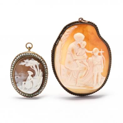 two-vintage-gold-filled-cameo-brooches-pendants