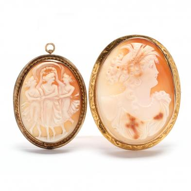 two-victorian-carved-shell-cameo-brooches-pendants