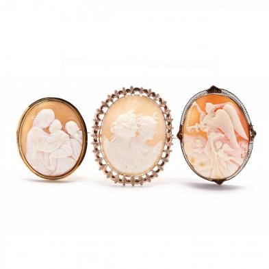 three-gold-carved-shell-cameo-brooches