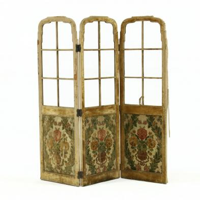 antique-french-three-panel-glazed-and-upholstered-floor-screen