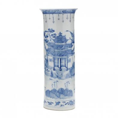 a-japanese-blue-and-white-porcelain-trumpet-vase